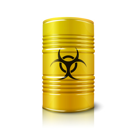 germ warfare: Realistic bright yellow big barrel with biohazard sign, isolated on white.