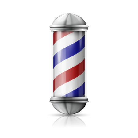barber pole: Realistic vector - old fashioned vintage silver and glass barber shop pole with red, blue, white stripes.