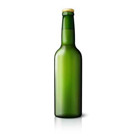 drink bottle: Blank green realistic beer bottle isolated on white background with reflection . Vector