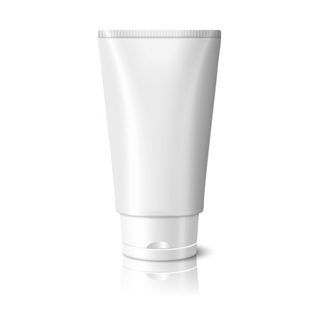 Blank white realistic tube for cosmetics, cream, ointment, toothpaste, lotion, medicine creme etc. Vector