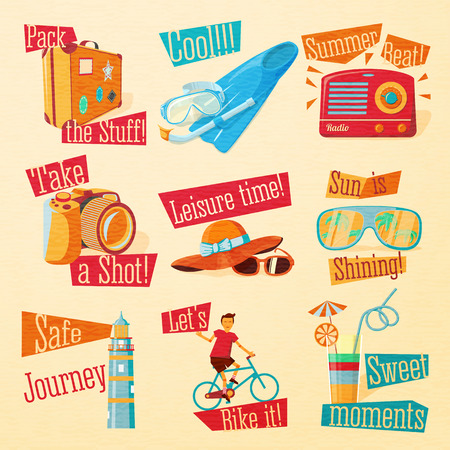 beacon: Set of cute bright summer icons with typographic elements. Suitcase, flippers, swimming mask, radio, photo camera, hat, sunglasses, beacon, bike, cocktail . Vector.