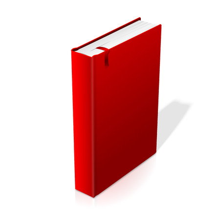 hardcover: Realistic standing red blank hardcover book with bookmark. Illustration