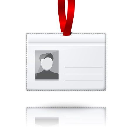 badge holder: Blank vector vertical badge holder with place for photo and text Illustration