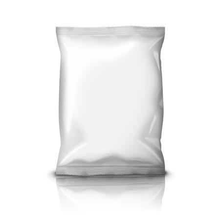 plastik: Foil Snack Pack isoliert auf weißem Hintergrund Illustration