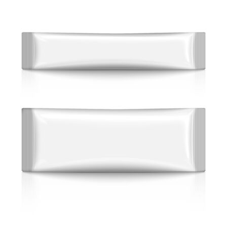 white blank: Blank plastic stick pack isolated on white background