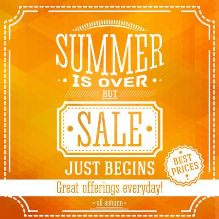 여름은 이상하지만 판매는 배너를 시작합니다. 올 가을 판매 제공하십시오. 삼각형과 육각형 패턴을 기준으로합니다. 벡터
