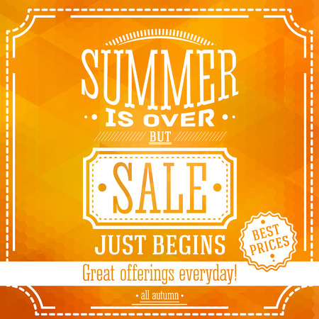 but: Summer is over but sale just begin banner. For this fall sales offerings. Based on a triangle and hexagon pattern. Vector