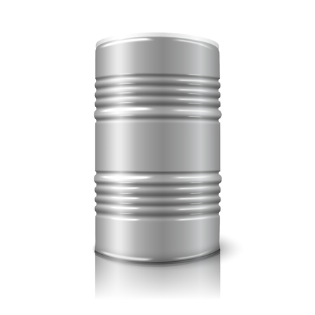 metal barrel: Blank realistic vector big oil barrel isolated on white with reflection.