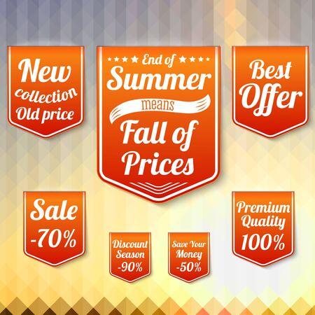 늦은 여름과 가을을 위해, 판매 사업 배너의 집합입니다. 벡터.