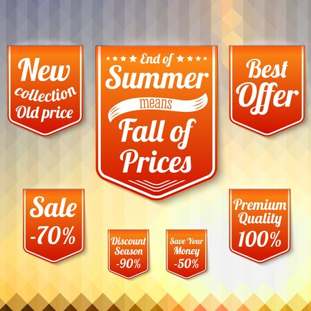 sale tags: Set of sale business banners, for the late summer and autumn. Vector.