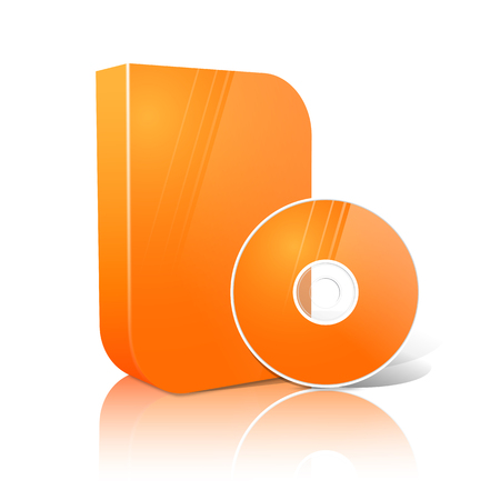 cd case: Bright realistic orange isolated DVD, CD, Blue-Ray smooth shaped case with disk. Vector