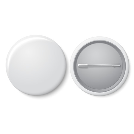 Blank vector white badge with place for your text. Both sides - face and back. Çizim