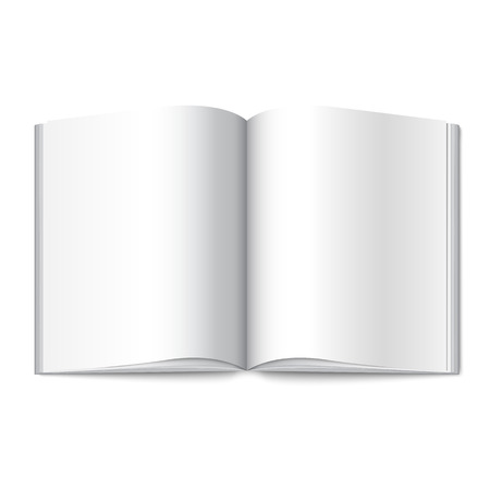 opened book: Blank white vector opened book, magazine or photo album for your messages, design concepts,advertising, photos etc.