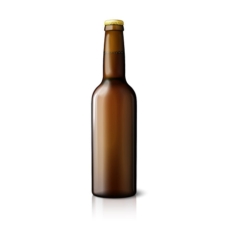 liquors: Blank brown realistic beer bottle isolated on white background with reflection. Vector