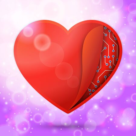 undercover: Cuore rosso in aria bella luminoso, con raggi di sole e bokeh. Con un orologio o microchip sotto copertura. per San Valentino, cerimonia nuziale, ecc Clockwork amore. Vettore Vettoriali