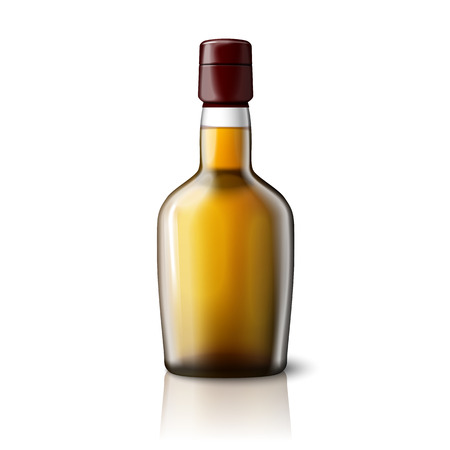 bourbon whisky: Blank realistic whiskey bottle isolated on grey background with place for your design and branding. Vector