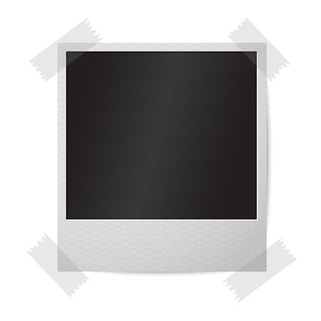 instant photo: Blank realistic isolated on white vector instant photo frame, sticked to the wall. Illustration