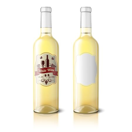 Two realistic bottles for white wine with labels isolated. Vector Çizim