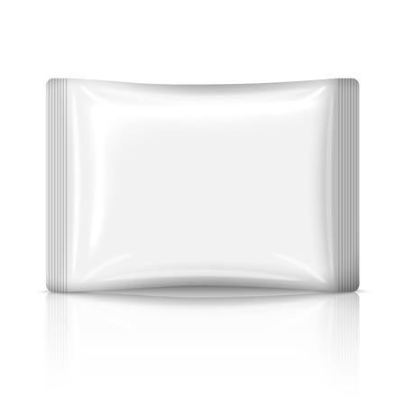 snack: Blank flat plastic sachet isolated on white background with reflection. Vector