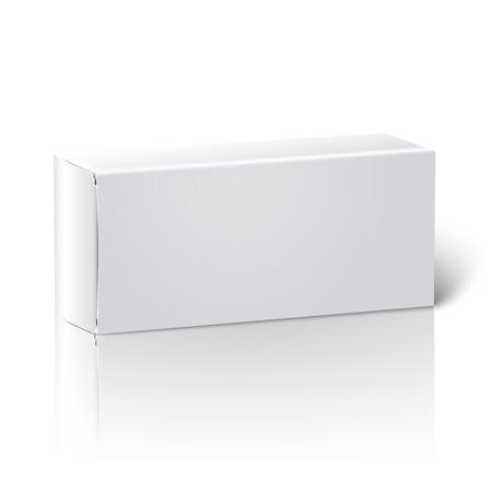 現実的な白い空白の紙パッケージ ボックス。ベクトル