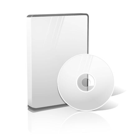 cd case: White realistic isolated DVD, CD, Blue-Ray case with disk. Vector