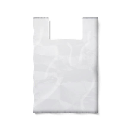 plastic bag: Blank plastic bag with place for your design and branding isolated on white background.