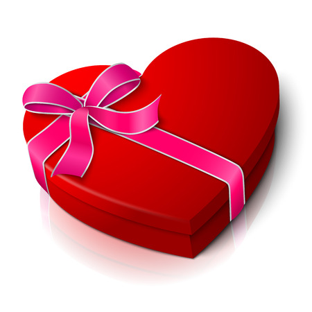 bowknot: Vector realistic blank bright red heart shape box with pink and white ribbon bow-knot. Illustration