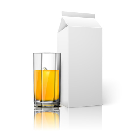 ice brick: Realistic white blank paper package and glass for juice, milk, cocktail etc. Vector