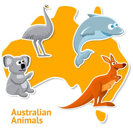 Set of stickers with australian animals with the map as a background.
