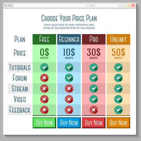Template for price plans, subscriptions etc. in flat style with browser window. vector
