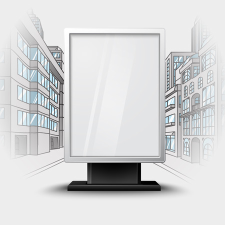 Blank white vertical billboard on city scape blueprint, with place for your design and branding under the glass. Vector illustration Illustration