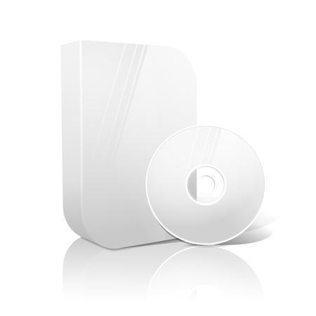 cd case: White realistic isolated DVD, CD, Blue-Ray smooth shaped case with DVD, CD disk on white background with reflection. With place for your text and pictures. Vector illustration Illustration