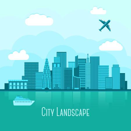 水の反射でモダンな都会風景です。飛行機とヨット。ベクトル図