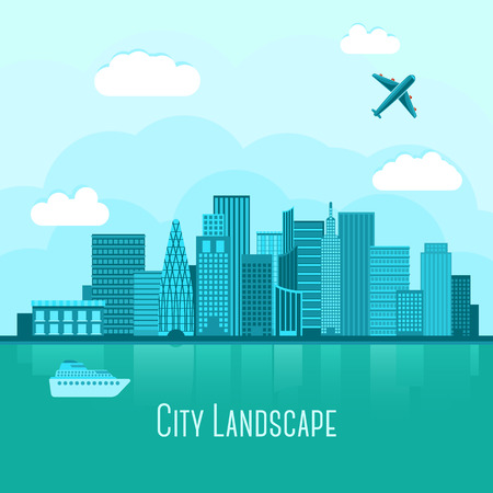 Modern big city landscape with reflection in water. With airplane and yacht. Vector illustration Çizim