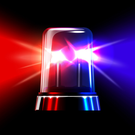 red sports car: Red and blue emergency flashing siren. Vector illustration