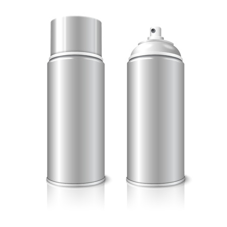 compressed air: Two realistic, isolated on white background with reflection, blank vector aerosol spray metal 3D bottle cans - opened and with cap. For paint, graffiti, deodorant, foam, cosmetics etc.