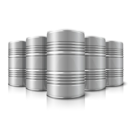 chemical spill: Blank vector realistic blank big oil barrels isolated on white background with reflection. With place for your signs, design etc. Illustration