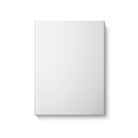 magazine template: Realistic front white blank hardcover book. Isolated on white background for design and branding, with place for your text. Vector illustration Illustration