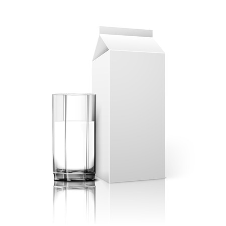 glass brick: Realistic white blank paper package and glass for milk, juice, cocktail etc. Isolated on white background with reflection, for design and branding. Transparent glass for every background. Vector illustration