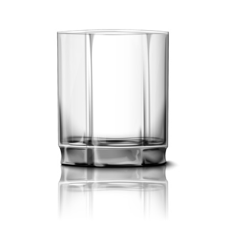 countertop: Realistic Vector glass isolated on white background with reflection, for design and branding. Transparent glass for every background.
