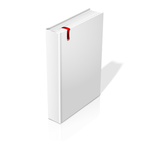Realistic standing white blank hardcover book with red bookmark. Isolated on white background with soft reflection for design and branding. Vector illustration Çizim