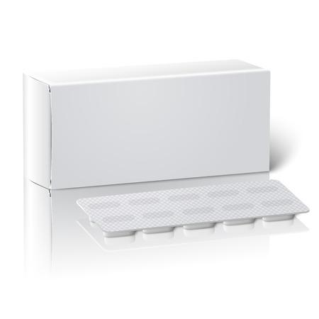 medicamentos: Blanco Realista cuadro en blanco envase del medicamento de papel con las p�ldoras en un blister. Aislado en el fondo blanco con la reflexi�n, para el dise�o y la marca. Ilustraci�n vectorial