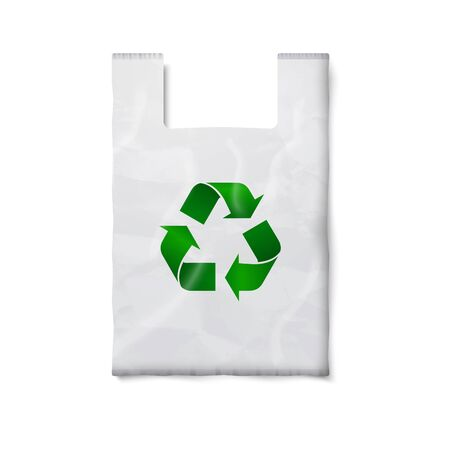 plastic bag: Blank white plastic bag with green recycling sign