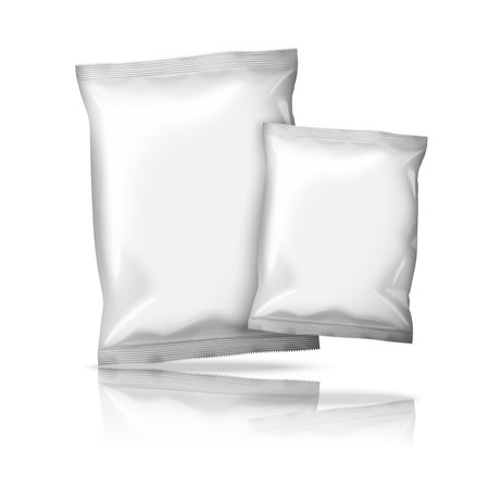 pouch: Two sizes of blank white foil snack packs isolated on white background