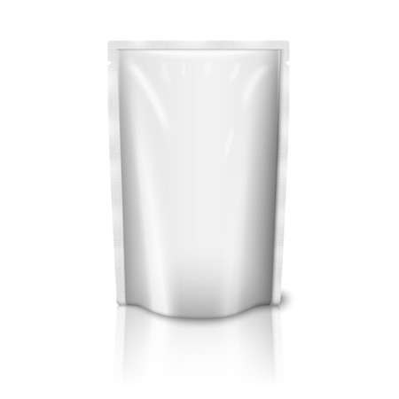 Blank white plastic pouch isolated on white background