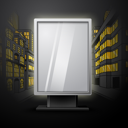 scapes: Blank white vertical billboard on night city scape background with space for text Illustration