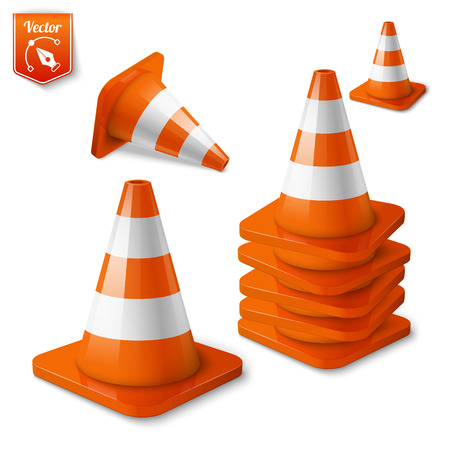 under construction road sign: set of orange road cones with stripes