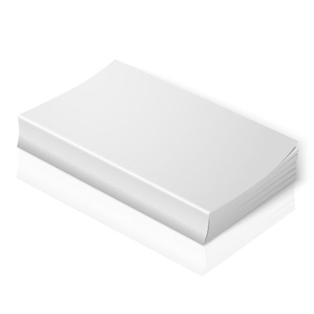 book isolated: White blank softcover book isolated on white background Illustration