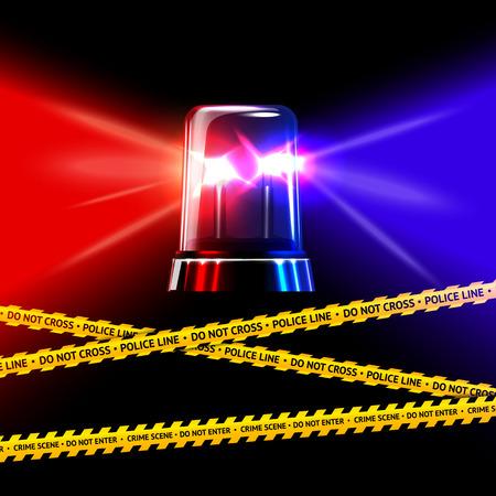 emergencia: Policía de la escena del crimen cinta amarilla y la sirena