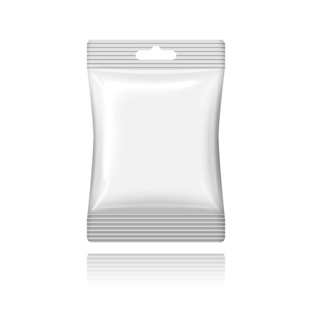 pouch: Blank white plastic sachet with hanging hole Illustration